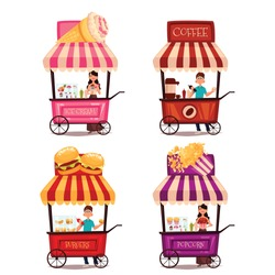Fast food cart, vector cartoon set isolated on a white background. street selling ice cream, garburgera, burgers, hot dogs, coffee in the street