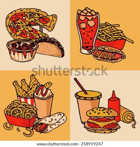 fast food chain menu 4 flat