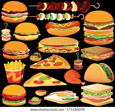 fast food clip art set of