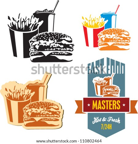 Fast food. Cola, hamburger and fries.