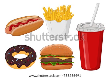 Fast food. Colored cartoon drawing. Vector illustration isolated on white background