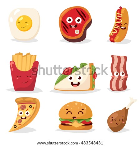 fast food colorful emoticon
