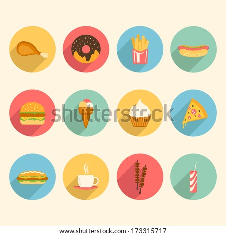 Fast Icon Design Fast Food Colorful Flat Design