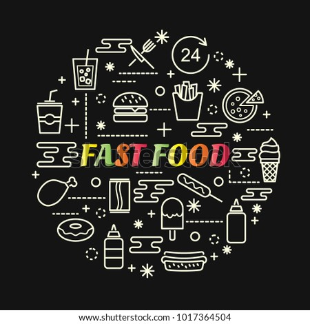 fast food colorful gradient with line icons set, vector editable stroke