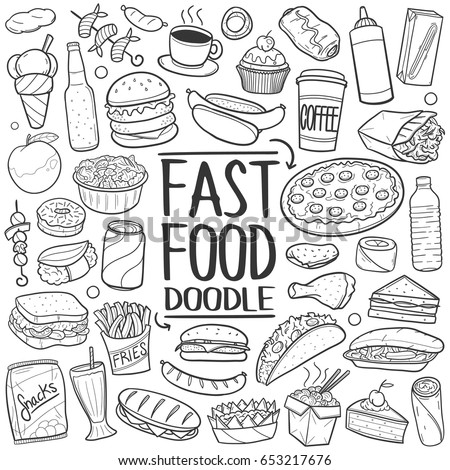 Fast Food Doodle. Icons Hand Drawn. Vector Clip Art. Sketch Famous Food. Restaurant Menu.