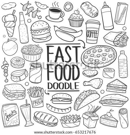 Fast Food Doodle. Icons Hand Drawn. Vector Clip Art. Sketch Famous Food. Restaurant Menu.