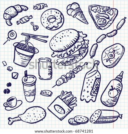 Fast food doodle set,  vector