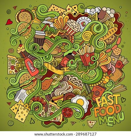 fast food doodles elements