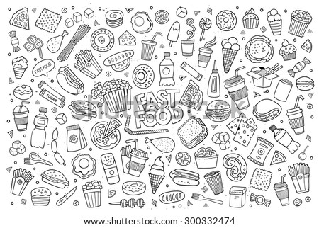 Fast food doodles hand drawn colorful vector symbols and objects