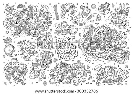 fast food doodles hand drawn