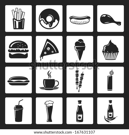 Fast Icon Design Fast Food Flat Design Black
