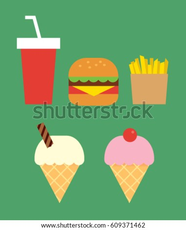 fast food. Flat design graphics elements. Vector illustration