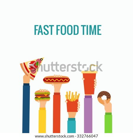 fast food flat hand concept