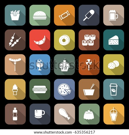 fast food flat icons with long