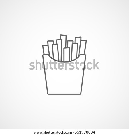 Fast Food French Fries Line Icon On White Background
