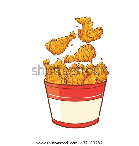Fast food fried chicken meat. Vector illustration