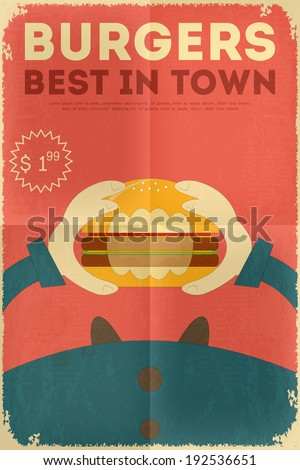 Fast Food Fun Poster in Retro Design Style Big Burger Vector Illustration