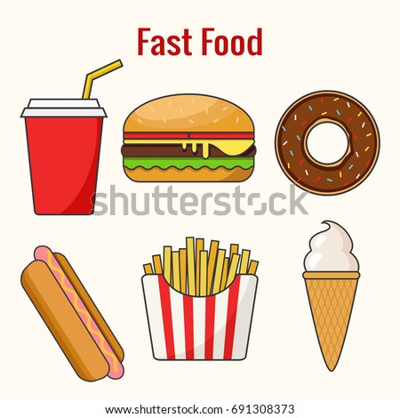 Fast food. Hamburger, hot dog, donut  and french fries. Line art