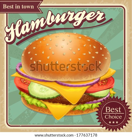 Fast food hamburger illustration retro grunge vector