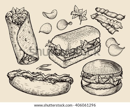 fast food. hand drawn cheeseburger, burritos, ham, bacon, sandwich, hot dog, crisp, burger. sketch vector illustration