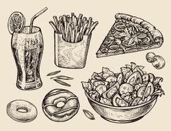 fast food. hand drawn soda, lemonade, fries, slice of pizza, salad, dessert, donut. sketch vector illustration