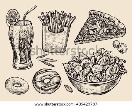 Shutterstock fast food. hand drawn soda, lemonade, fries, slice of pizza, salad, dessert, donut. sketch vector illustration