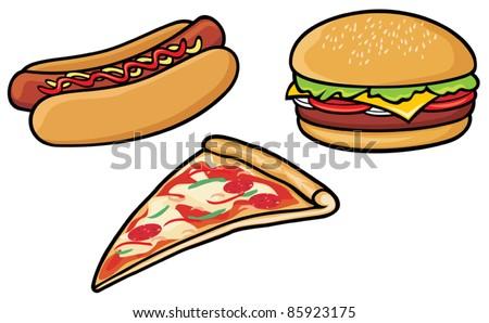 fast food (hot dog, pizza, hamburger)