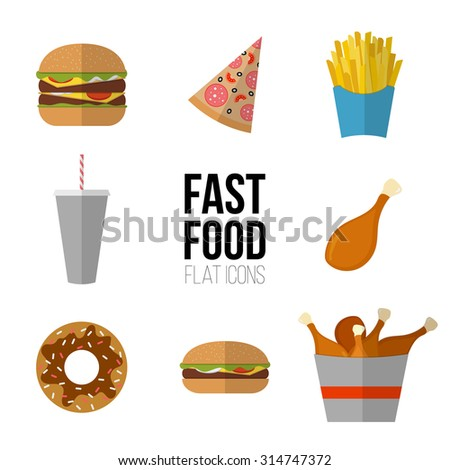 fast food icon design flat