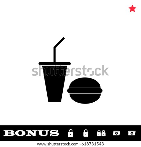 Fast food icon flat. Black pictogram on white background. Vector illustration symbol and bonus button open and closed lock, folder, star