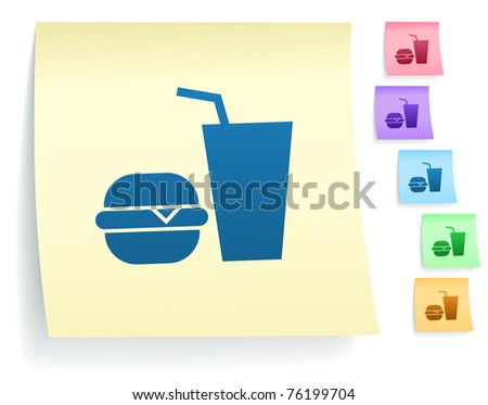 Fast Food Icon on Post It Note Paper Collection Original Illustration