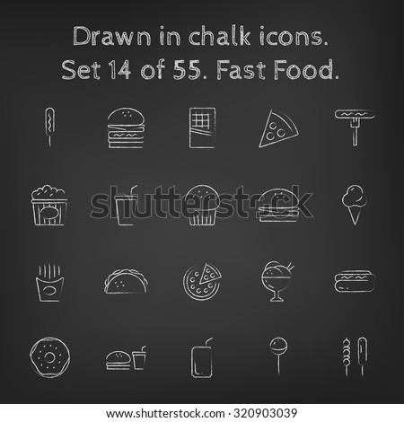fast food icon set hand drawn