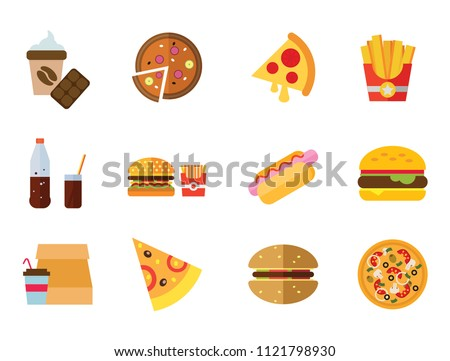 Fast Food Icon Set. Hot Dog On Plate Hamburger Hot Dog Burger Hamburger And French Fries Pizza Bottle And Glass Of Cola Coffee And Chocolate French Fries Pizza Slice Vegetarian Pizza Takeaway Lunch