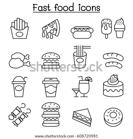 fast food icon set in thin line style