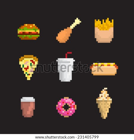 Fast food icon set, pixel art style