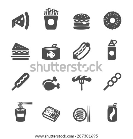 fast food icon set, vector eps10.