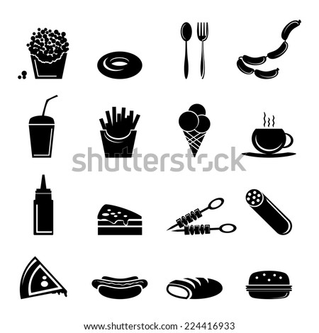 Fast Food Icon Vector Fast Food Icons Black Set of