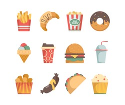 Fast food icons. Hamburger pizza sausages snacks sandwich ice cream food menu vector flat pictures