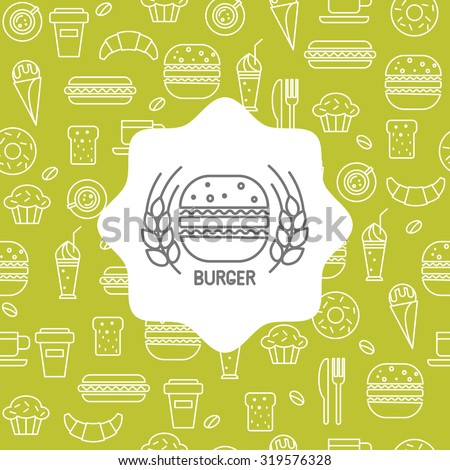 Fast food icons in a linear style, seamless pattern with the emblem of burger for your design.