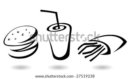 fast food icons line art illustrations, isolated
