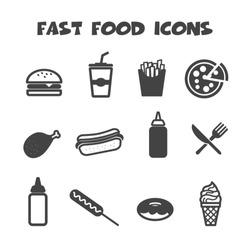 fast food icons, mono vector symbols