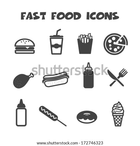 fast food icons mono vector symbols