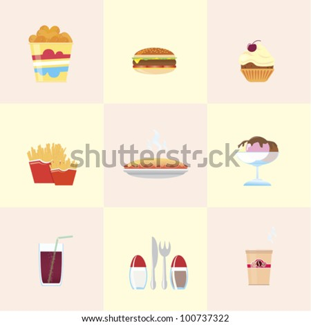 Fast Food Icons. Nine vector images for fast-food restaurant