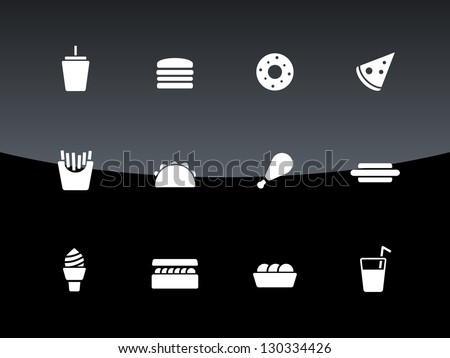 Fast food icons on black background. Vector illustration.