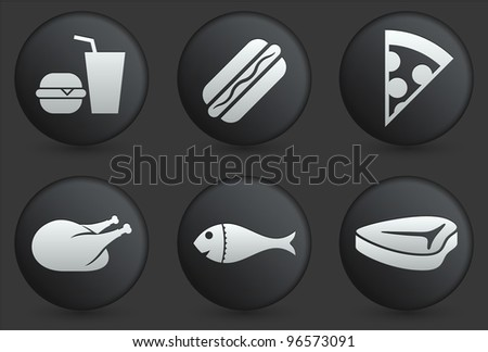 Fast Food Icons on Black Internet Button Collection Original Illustration