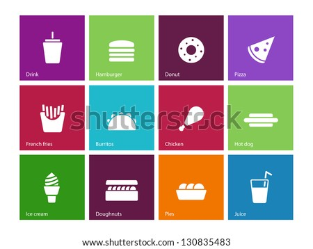Fast food icons on color background. Vector illustration. - stock vector
