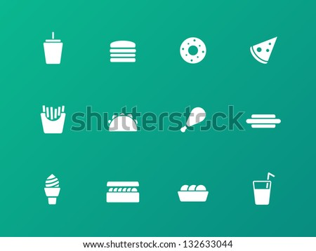 Fast food icons on green background. Vector illustration.