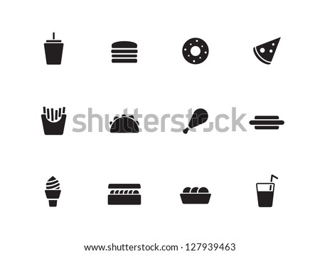 Fast Food Icon Vector Fast Food Icons on White