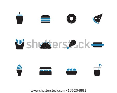 Fast food icons on white background. Vector illustration.