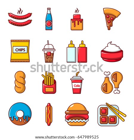 Fast food icons set. Cartoon illustration of 16 fast food vector icons for web