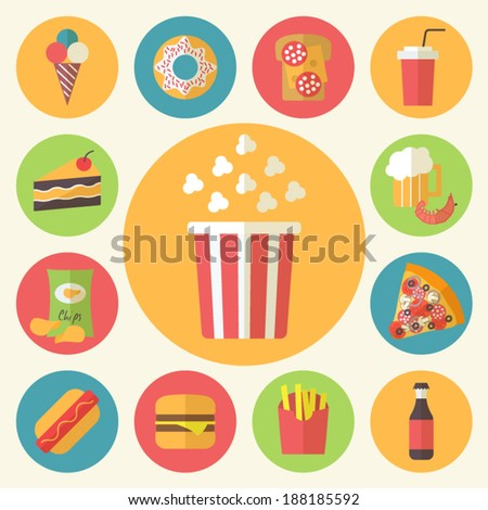 Fast food icons set for menu cafe and restaurant Flat design vector